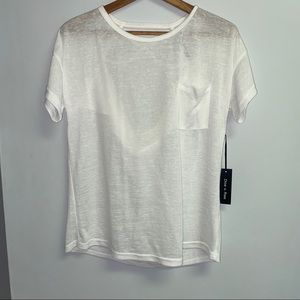 NWT BOUTIQUE WHITE TOP WITH SCOOP BACK - M/L